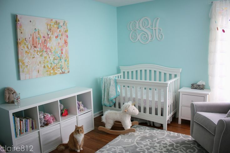 Modern Tiffany Blue Nursery - love the modern, colorful art and monogram over the crib
