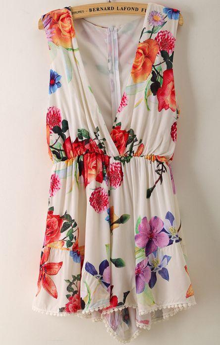 White V Neck Sleeveless Floral Loose Jumpsuit - Sheinside.com