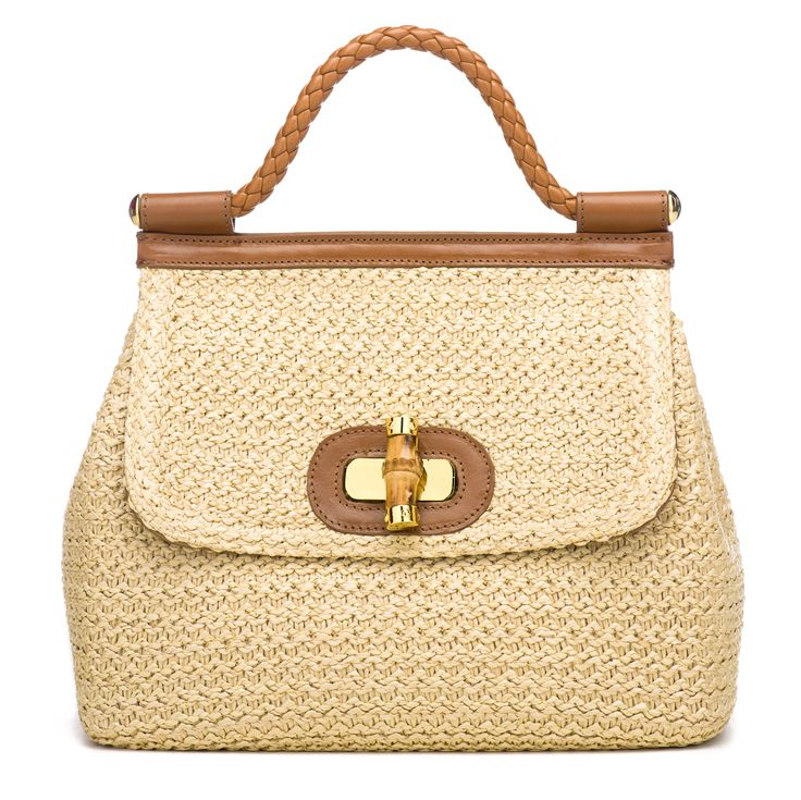 Luisa Spagnoli Straw bag with bamboo closure