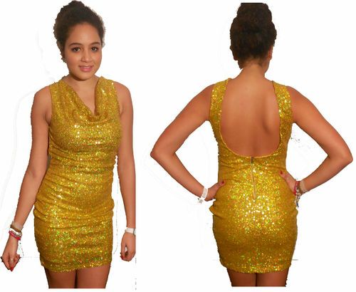 New Womens Ladies Club Party Designer Opium Sequin Sequence Sexy Metallic Dress