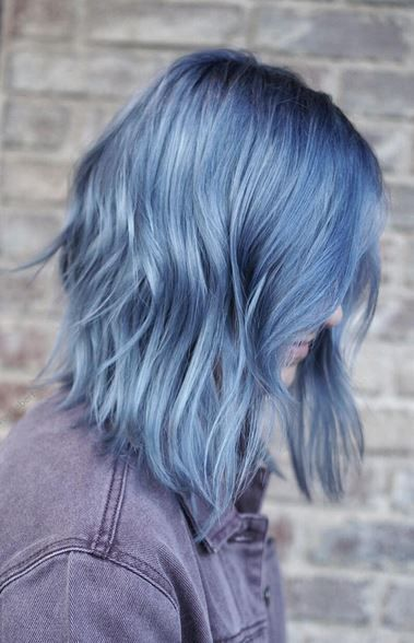 smokey ash blue hair color
