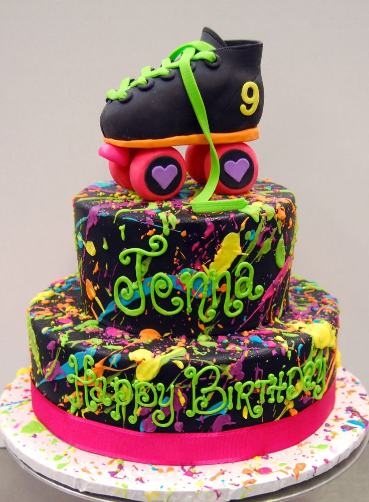 We like, totally LOVE this rad 80s throw-back cake, fer sure. #80scake #rollerskate #80sbirthday #sweetlifeeugene