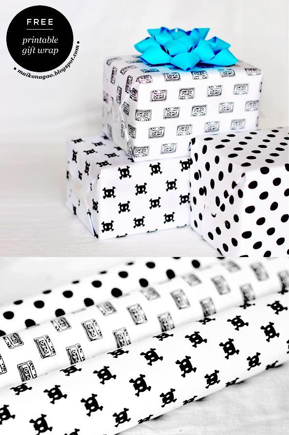 Imprimible papel de regalo: cassettes, calaveras y lunares >> Freebie: Printable gift wrap designed by Maiko Nagao : cassette, skulls and dots