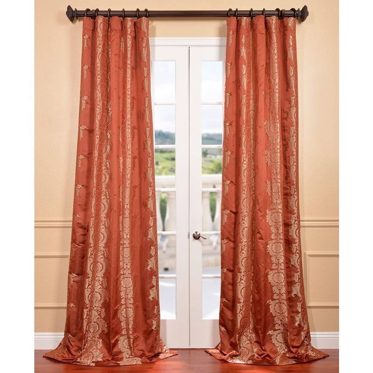 russet faux silk surrey jacquard curtain panel overstock shopping great deals on eff curtains
