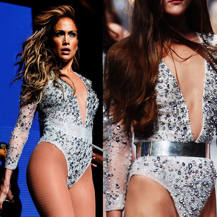 On the floor! Jennifer Lopez looks ravishing in her embroidered Celia Kritharioti Haute Couture bodysuit at KTUphoria Festival, NJ, NYC