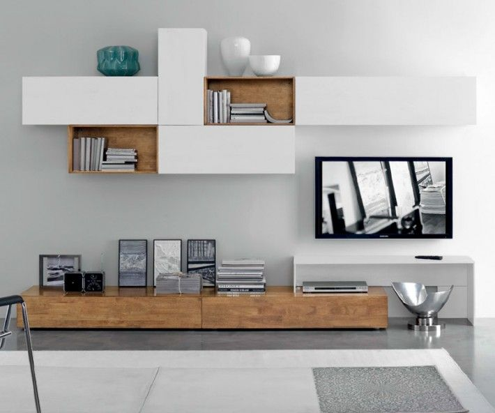 Modern Solid Wood TV Wall - White & Parawood - Natural Look and Feel  FGF Mobili Massivholz TV Lowboard B 240 cm x H 22 cm