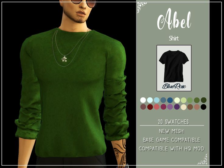 ABEL SHIRT <b>New</b> Mesh <b>Compatible with</b> base game 20 swatches ...