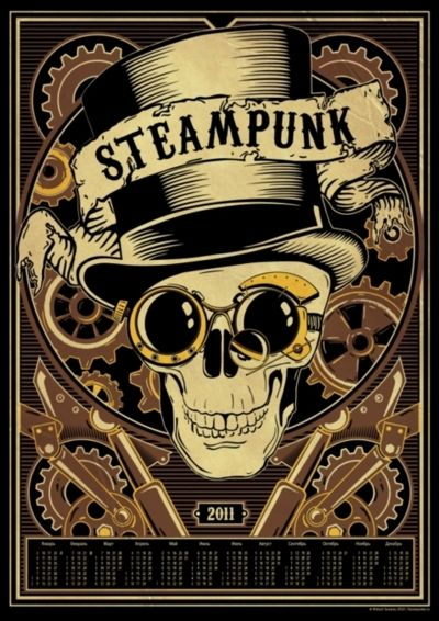 Steampunk  cool illustration skull