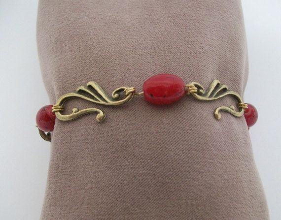 Handmade Beadwork Bracelet with red Czech by ThousandDrops on Etsy