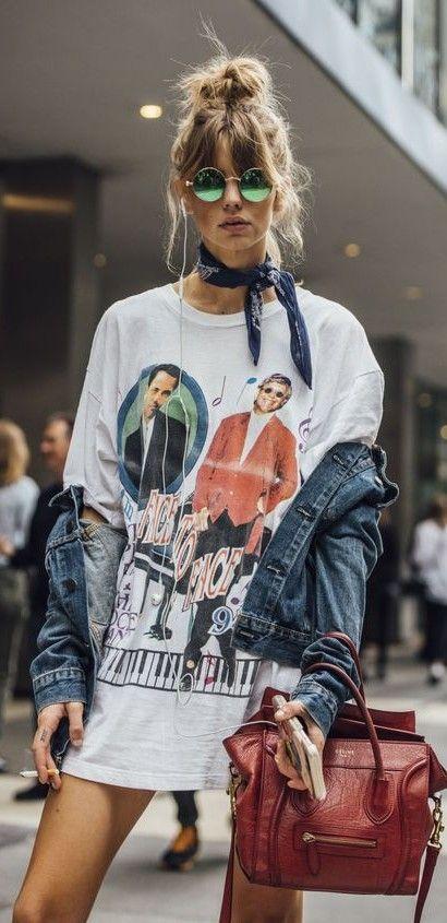 graphic printed oversized t-shirt. tee dress. denim jacket. bandana scarf. #streetstyle