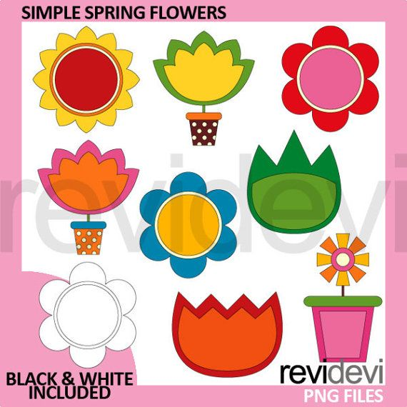 Simple Spring Flowers clipart  spring clip art by revidevi on Etsy