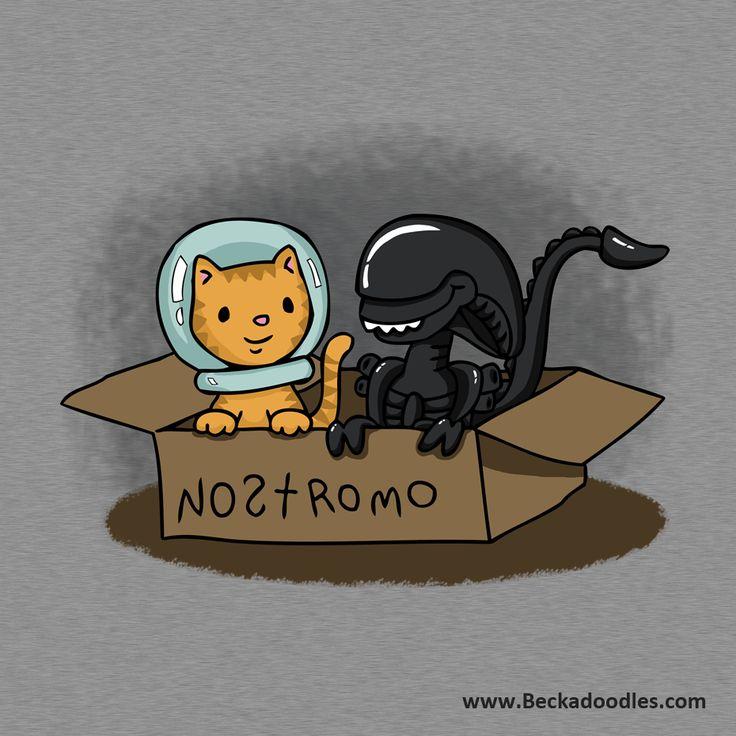 Alien and Jonesy T-shirt design by @beckadoodles  https://www.teepublic.com/show/45526-kitten-and-alien-in-a-box #alien #xenomorph #cartoon #cute #tshirt