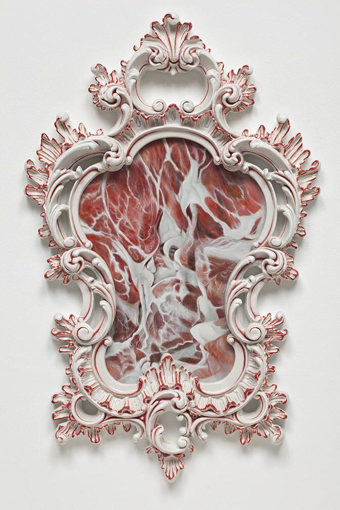 Meat paintings by Victoria Reynolds. I especially like how well this frame fits this painting.
