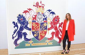 "' ""The coat of arms is all around us in Britain. It's so much a part of us that we barely even notice it, but it is so distinctively British,"" said McCartney shortly after presiding over the launch wearing six-inch high heels, shoulder-robing a red coat over a cream blouse and black silk jogging bottoms.' (Cartner-Morley, 2016)."