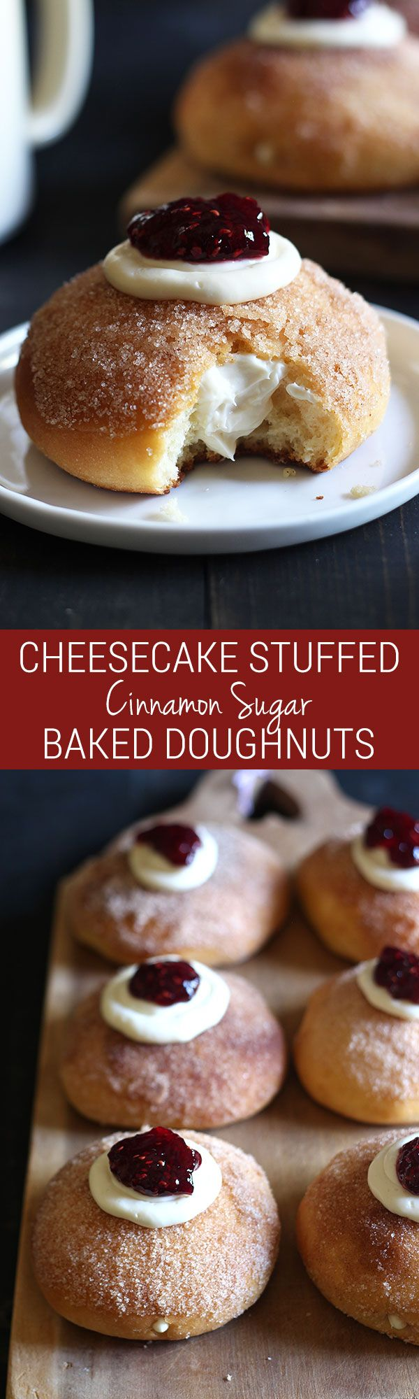 Cheesecake Stuffed Baked Doughnuts feature a fluffy yeast-raised baked doughnut coated in cinnamon sugar, stuffed with sweetened cream cheese, and topped with a dollop of raspberry jam.