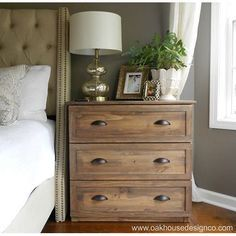 Nightstand from ikea dresser.  Great idea for sewing room ad well.