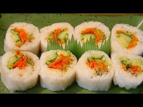 Rice Paper Sushi Roll Recipe - Vegetarian, No Nori. Whole Foods has multi-colored rice paper!