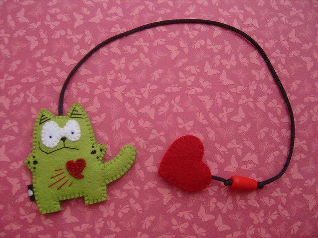 #felt cat bookmark { gatto segnalibro in feltro }