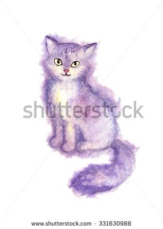 Furry cat - a hand-painted watercolor illustration of a cat. White background