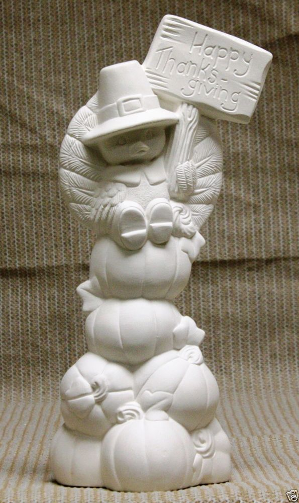 Ceramic Bisque Turkey on Pumpkin Stack Clay Magic 2442 U-Paint Ready To Paint #ClayMagic #UPaint