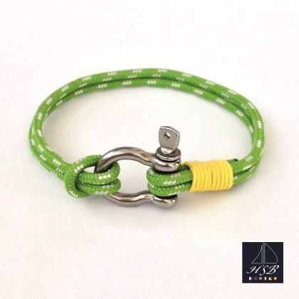 Green paracord bracelet with yellow line and stainless steel shackle - 45 RON