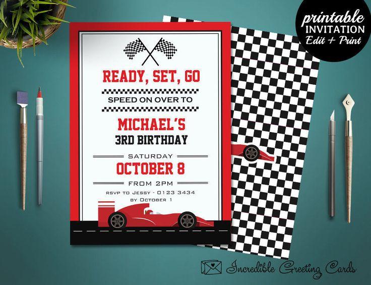 Printable Race Car Boy Birthday Invitation Template. Boy Birthday Party Invitation. Go Kart birthday. Racing Birthday Invite by HandmadeIncredible on Etsy