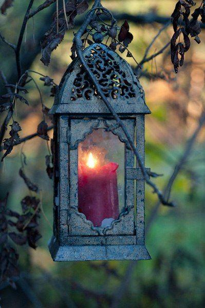 Ye olde candle lantern. Oh so shabby chic.