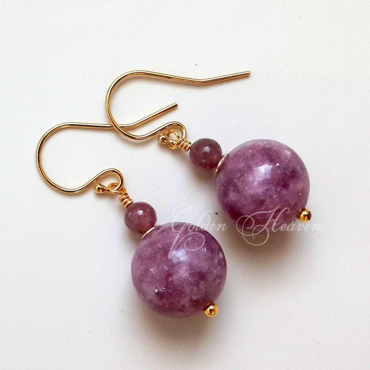 Natural Lepidolite Earrings 14k Gold filled Purple Gemstone Earrings Round Purple Earrings Genuine Gemstone Earrings cute gift for her by GoldenHeaven on Etsy