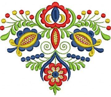 Ľudová výšivka Vajnory kožuch, 4 farby, rozmer 12x11 cm