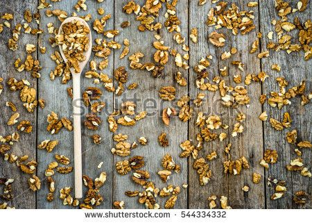 Dried walnut kernels, nuts seeds, healthy eating concept, overhead