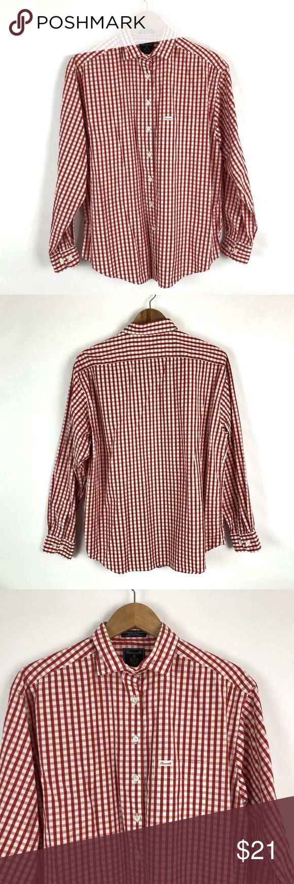 """Faconnable Red White Gingham Men Button Shirt Size large  Total Length 28.5""""  Sleeve Length 23.5""""  Underarm to Underarm 24.5""""  Pre Owned  Great Shape No Holes Stains or Fading  Pet Free Smoke Free  N Faconnable Shirts Casual Button Down Shirts"""