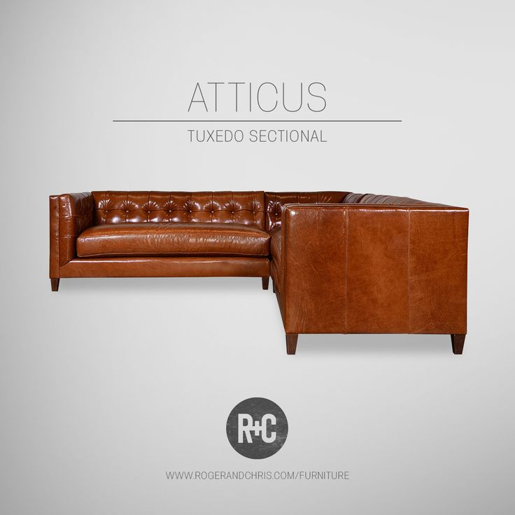 Our Atticus is a mid-century modern tuxedo sofa now available as a sectional. This brown leather sectional provides room for everyone and tons of comfort. Made in U.S.A.!