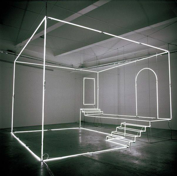 Installation neon & steel design by Massimo Uberti Uno Studio