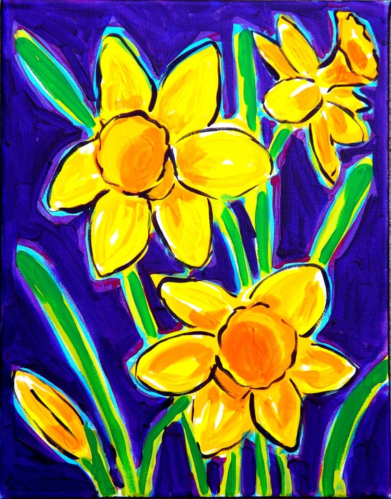 "Daffodils    Original 11x14"" painting by STUCKY on stretched canvas. Ready to hang!"