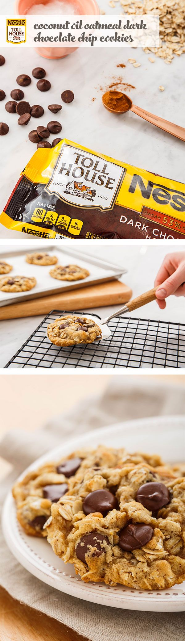 """They're easy, delicious and full of simple, good stuff like old-fashioned oats, coconut oil, cinnamon and whole wheat flour. Whether you're baking for your work BFF or the whole department, our Coconut Oil Dark Chocolate Chip Cookies are sure to inspire a whole lot of """"yums!"""" Combine ingredients, stirring in oats and Nestlé® Toll House® Dark Chocolate Morsels, then scoop dough onto a baking tray. Bring them in on a Monday—and your coworkers will be smiling all week."""