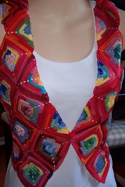 Free Crochet Granny Square Vest Patterns : Granny Square Chic Vest: free pattern Granny Square ...