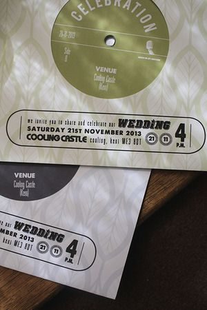 "Playable 7"" record wedding invitation."