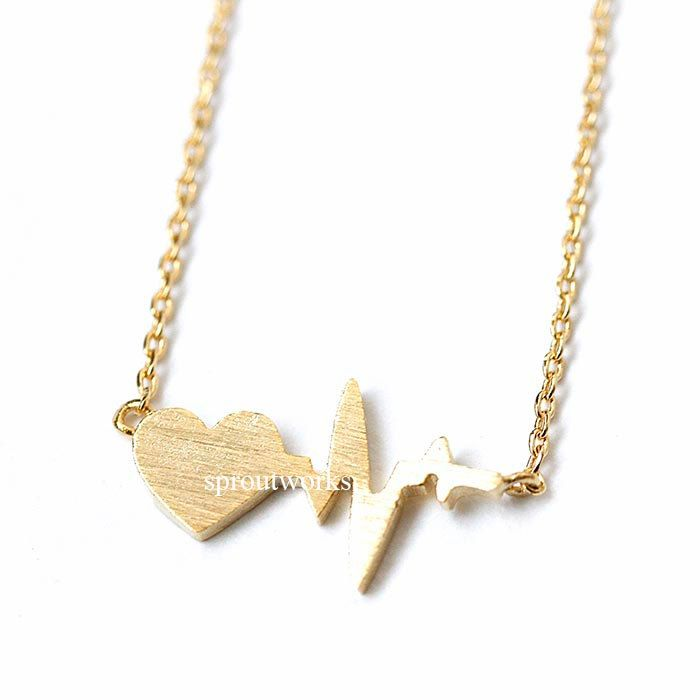heart beat, heart beat necklace, heart, heart necklace, woman necklace, anniversary gift, bridesmaid gift, mothers day gift, gift for her by sproutworks on Etsy