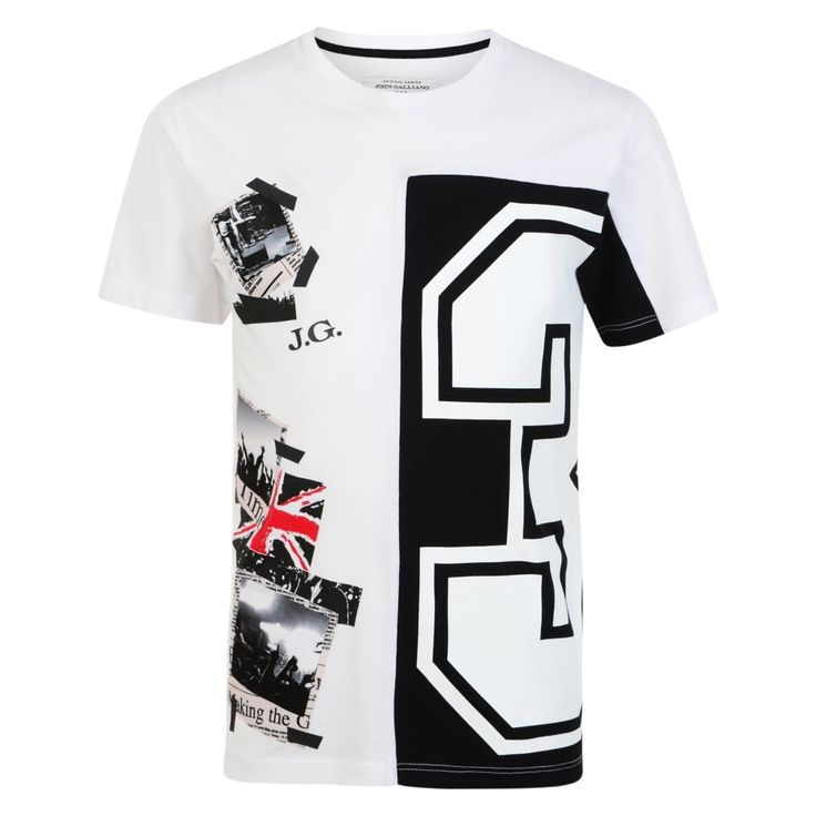 BOYS WHITE T-SHIRT WITH BLACK AND RED NUMBER PRINT