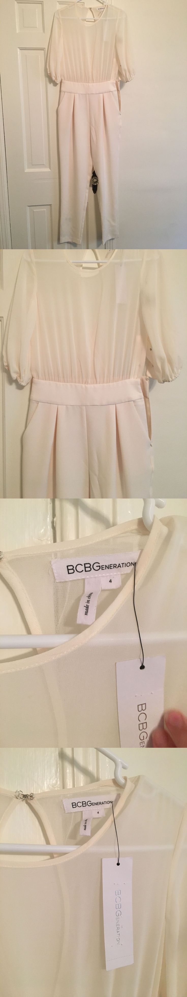 Jumpsuits and Rompers 3009: Bcbgeneration Women S White Jumpsuit Size 4 -> BUY IT NOW ONLY: $30 on eBay!