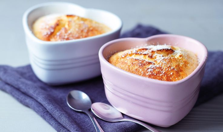 Saucy Amaretto Puddings   These saucy puddings are the perfect dessert for a romantic meal, with their light sponge topping and zesty lemon base - with a hint of Amaretto for a fabulous flavour. Cooked and served in the Le Creuset set of two Heart Ramekins in Cotton and Chiffon Pink.