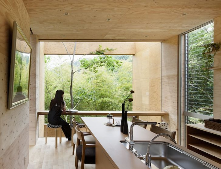 UID Architects completed +node, a cantilevered wooden house in Japan.