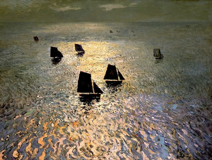 William Frederick Ritschel (1864 - 1949). Boats Returning Home. Oil on Canvas.