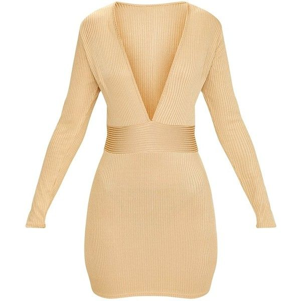 Gold Ribbed Long Sleeve Plunge Bodycon Dress ($38) ❤ liked on Polyvore featuring dresses, gold bodycon dress, beige bodycon dress, ribbed dress, beige dress and plunge bodycon dress
