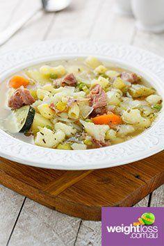 Vegetable Ham & Pasta Soup. #HealthyRecipes #DietRecipes #WeightLossRecipes weightloss.com.au