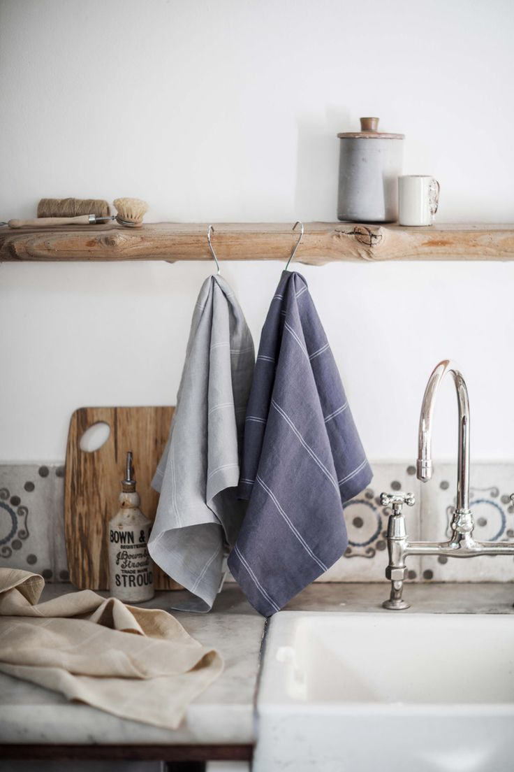 Italian stripe linen napkins in hay, vintage grey and steel from £12 each.