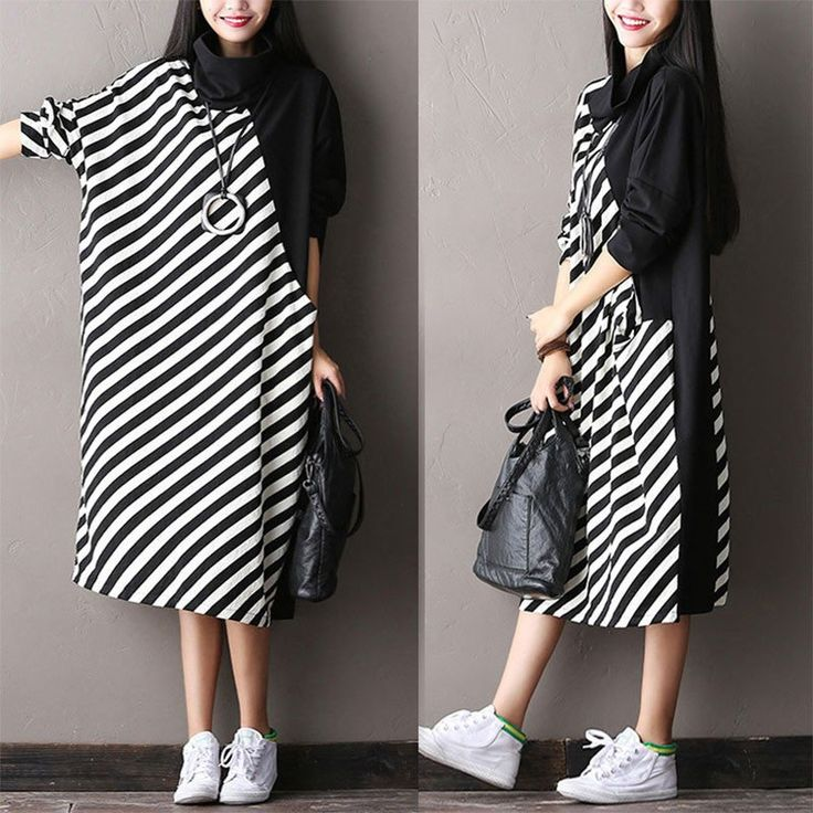 Bat Sleeve Striped Dress