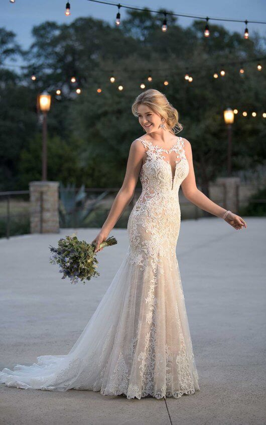 D2548 Layered Lace Wedding Dress with Plunging V-Neckline by Essense of Australi…
