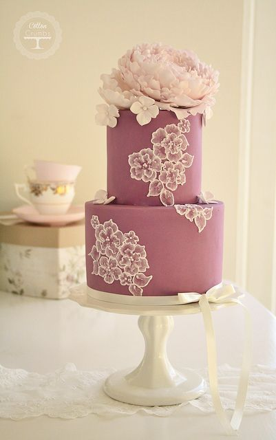 Brush embroidery and peony cake - made by Cotton & Crumb