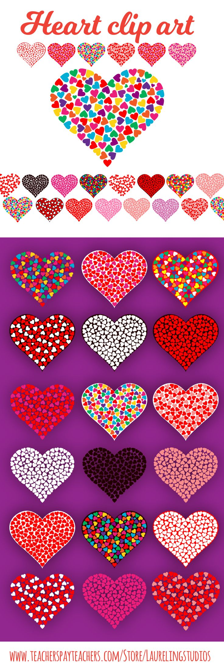 Colorful digital clipart heart .png files for Valentine's Day! https://www.teacherspayteachers.com/Product/heart-clipart-for-Valentines-Day-or-commercial-use-2990199